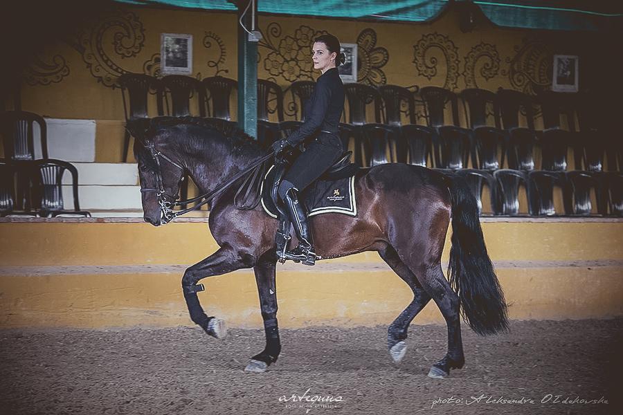 Amazona montada a caballo